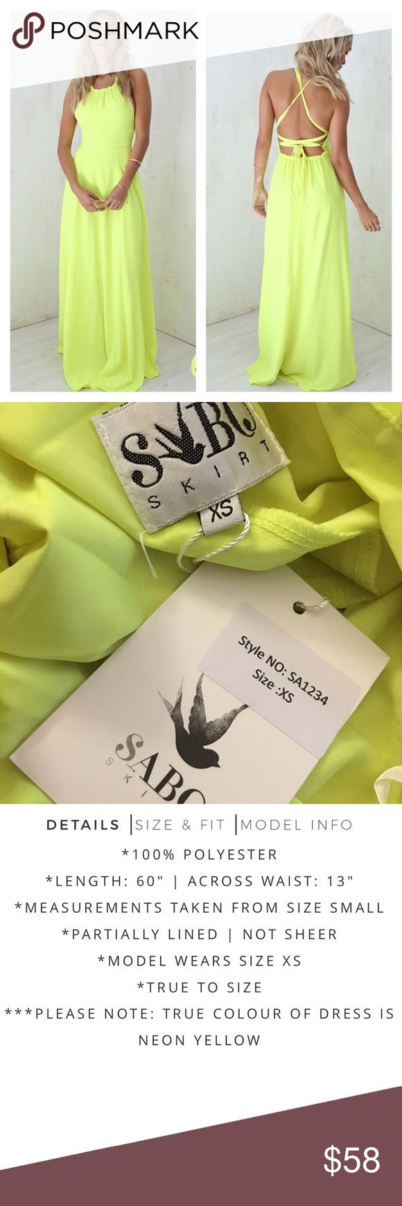 ⚡️FLASH SALE⚡️ Sabo Skirt Calipso Neon Maxi Dress Sabo Skirt Calipso Neon Maxi Dress. Size XS, US 2. Brand new with tags. Absolutely gorgeous gown! Please see pictures. Thank you for looking at my listing and feel free to ask questions :)!   ⭐️️Bundle and save⭐️10% off 2 items & 20% off 3+ items!   •Sorry no trades. •No modeling please. Sabo Skirt Dresses Maxi