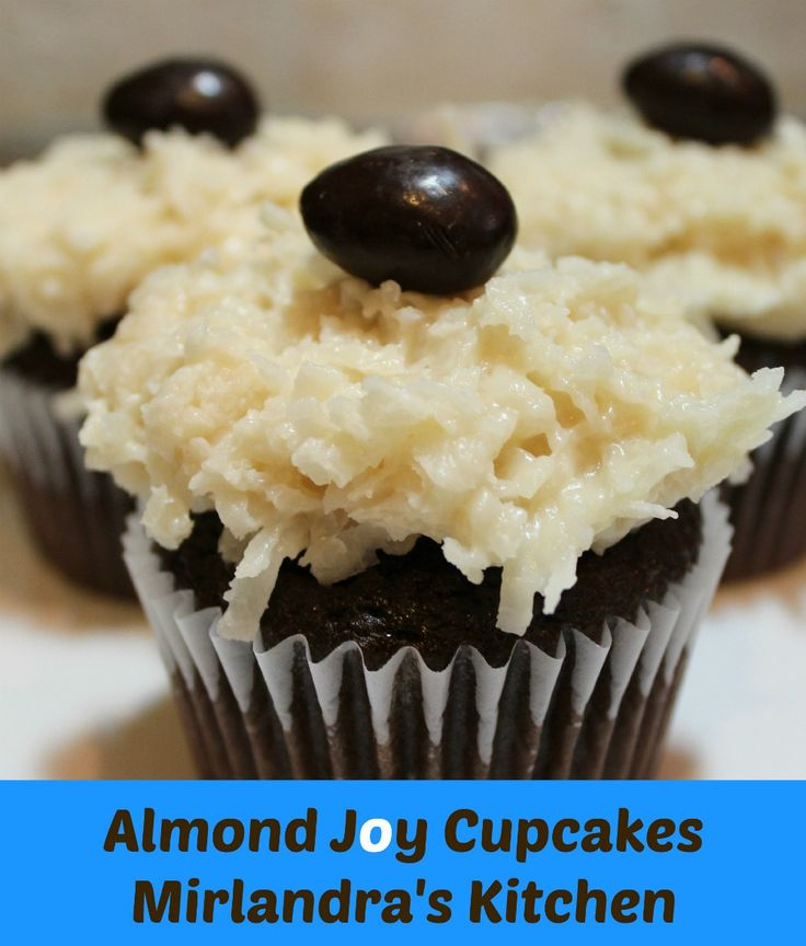 These almond joy cupcakes are better than the candy bar!  Decadent, creamy coconut topping is easy to make in 5 minutes and tops your favorite chocolate cupcake recipe.  I love that this treat does not have all the additives and preservatives of the candy bar.  It is just simple, yummy, home cooking.