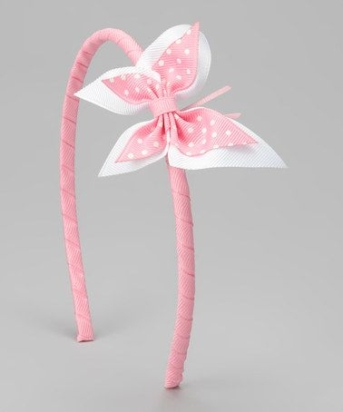 Take a look at this Picture Perfect Hair Bows Pink & White Butterfly Headband by Picture Perfect Hair Bows on #zulily today!
