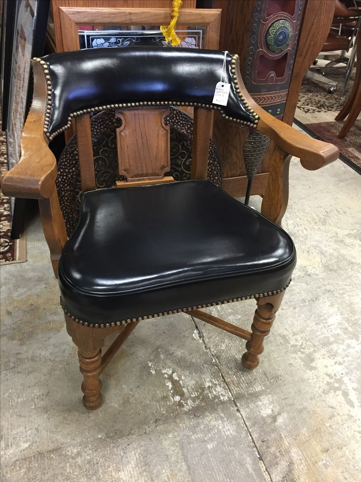 Stylish black leather chair- $45 #black #leather #chair #style #fancy #bedroom #livingroom #designer #design #decor #home #house #apartment #homedecor #homedesign #fancy #relax #sale #cheap #store #local #kansas #furniture #mk #consignment