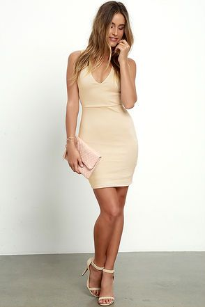 Will Always Love You Beige Bodycon Dress at Lulus.com!