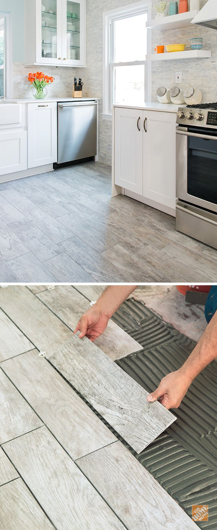 tile floor treatment tips | Wood-look tile combines the natural warmth of wood with ...