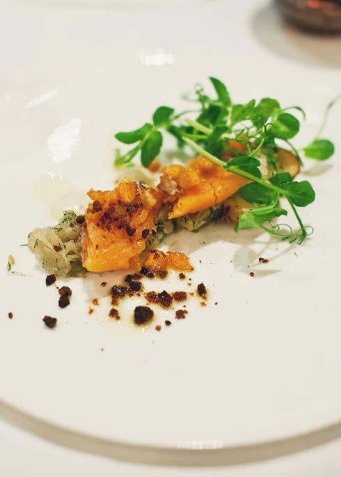 {Poached Trout, Roast fingerling Potato, Fennel Bulb Chutney, Snoek Taramasalata, Chorizo}
