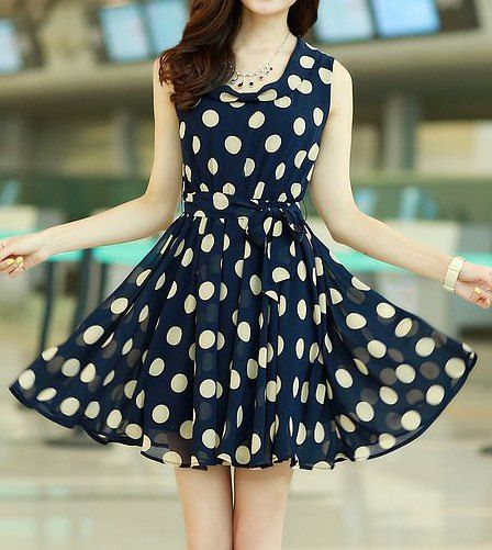 $10.30 Chic Style Ruffled Polka Dot Print Sleeveless Chiffon Dress For Women