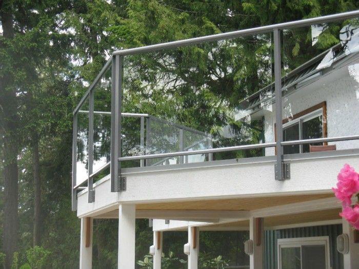 Aluminum Railing.  Side Mount. Glass Panels. Deck.