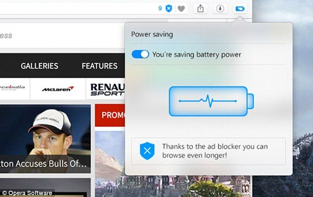 Opera's new browser for laptops has a power saving mode (pictured) that it claims can cut the battery drain by up to 50 per cent compared to earlier versions of the software and competitors like Google Chrome
