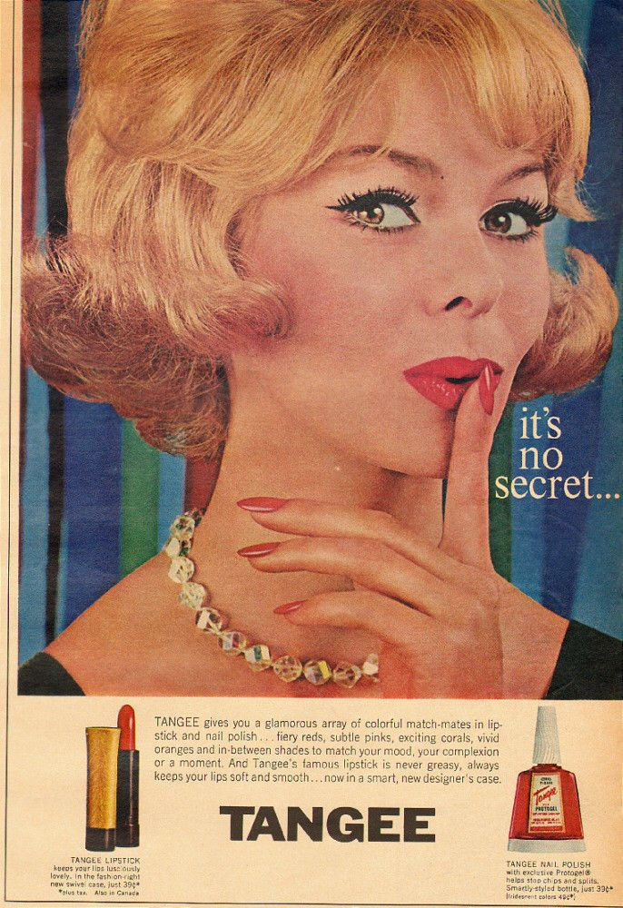 Cosmetics And Makeup: 1962 Vintage Cosmetics Ad, TANGEE, Lipstick And Nail