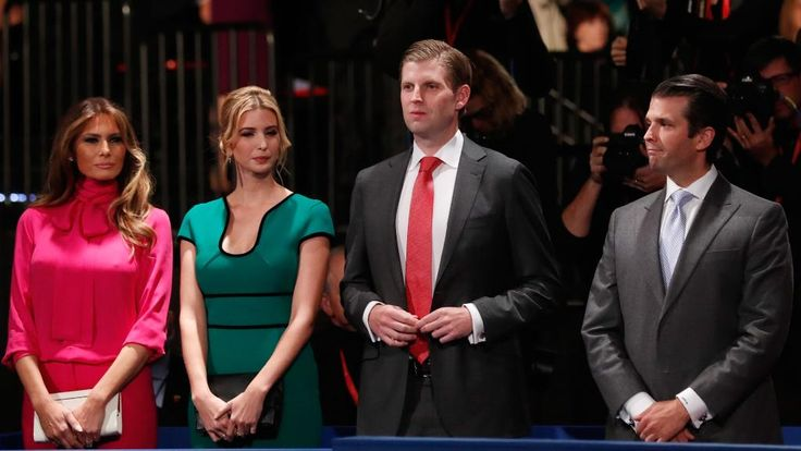 (L-R) Republican presidential nominee Donald Trump's wife Melania Trump, daughter Ivanka Trump, son Eric Trump and son Donald Trump, Jr. attend the town hall debate at Washington University on October 9, 2016 in St Louis, Missouri. Picture: Getty Images