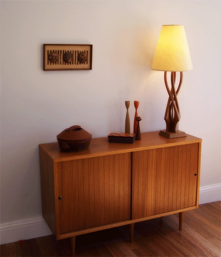 Danish Modern styled credenza with teak lamp. love this matchy look!