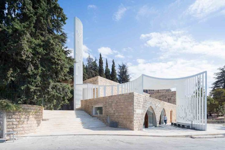 New York-based studio L.E.FT renewed a mosque in Lebanon, adding an ephemeral structure that braces the outside plaza in an extroverted geometry, and links it to the interior religious space.