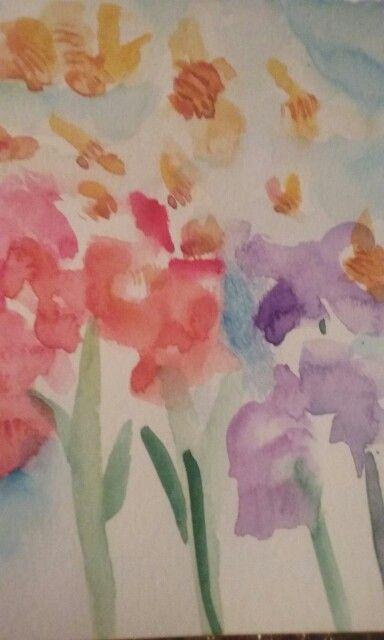 Abejas y flores Acuarela Cecilia Almarza