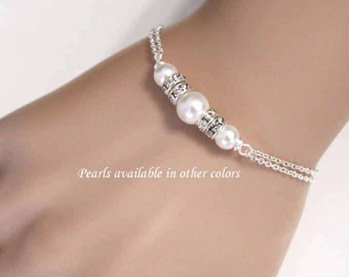 Pulsera de Dama de honor, Pulsera perlas Swarovski blanco, pulsera novia, regalo de la Dama de honor, Dama de Dama de honor de regalo de la joyería personalizada