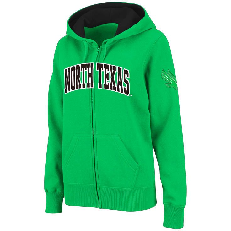 North Texas Mean Green Stadium Athletic Women's Arched Name Full-Zip Hoodie - Green - $31.99