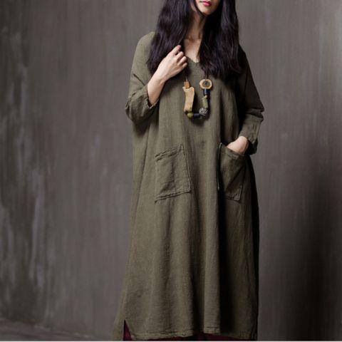 women cotton linen spring and winter long sleeve dress
