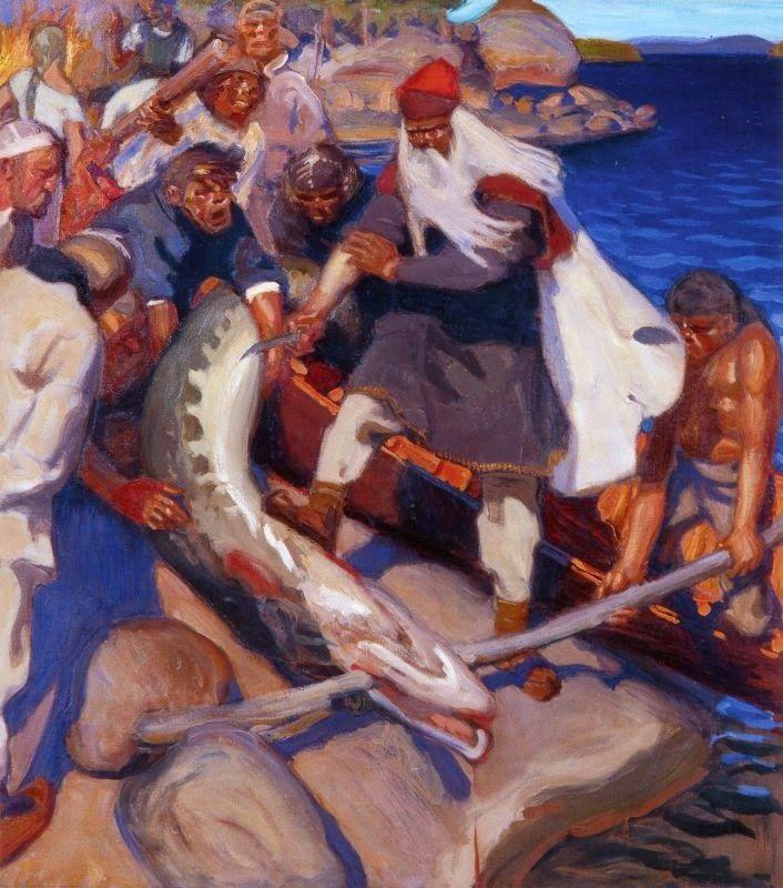 Akseli Gallen-Kallela (26 aprilie 1865 - 7 martie 1931)   - The Great Pike