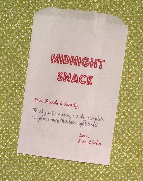 Midnight Snack Thank You For Making Our Day Complete Kraft Favor Bags Wedding Candy Bar
