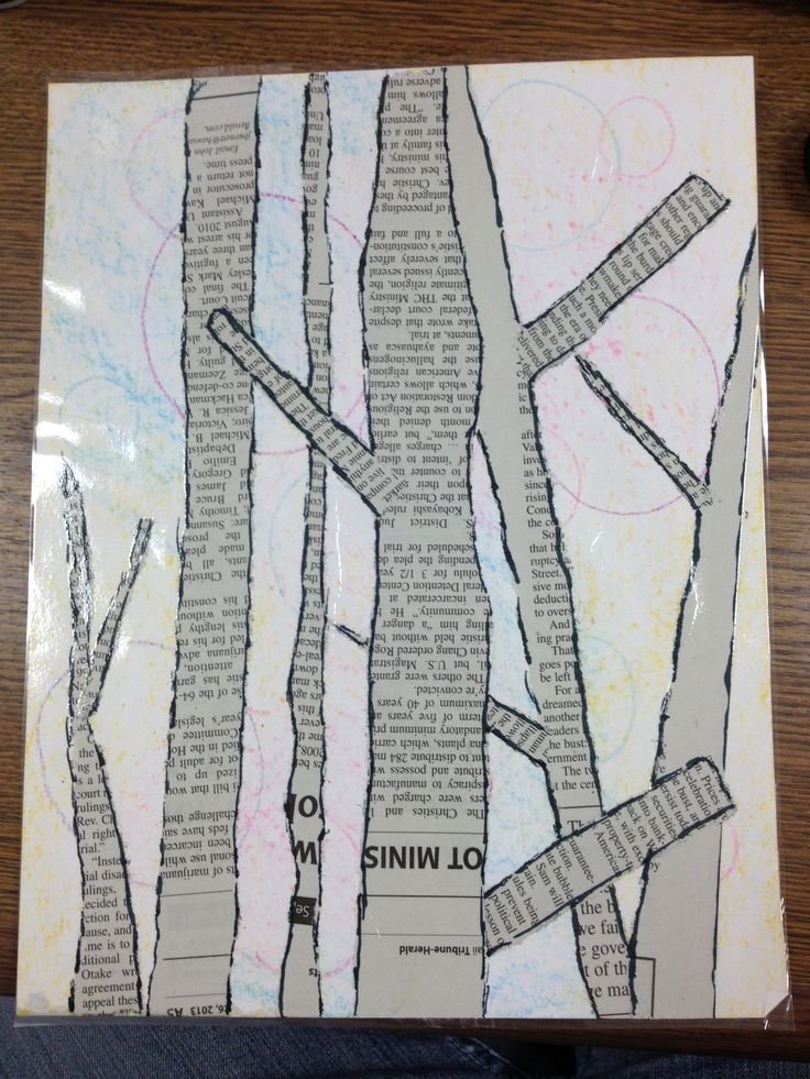 Birch trees with newspaper and crayons. Used marker to outline.