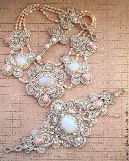 """Комплект """"Rafaella"""" - кремовый,опалит,сутажный браслет,свадебное украшение"""