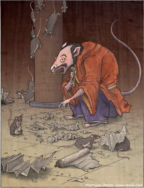 """Tesso- Japanese myth: """"the iron rat"""" a man sized rat with iron teeth and claws. It could shred up anything. It used to be a monk named Raigo who became a yokai by sheer will."""