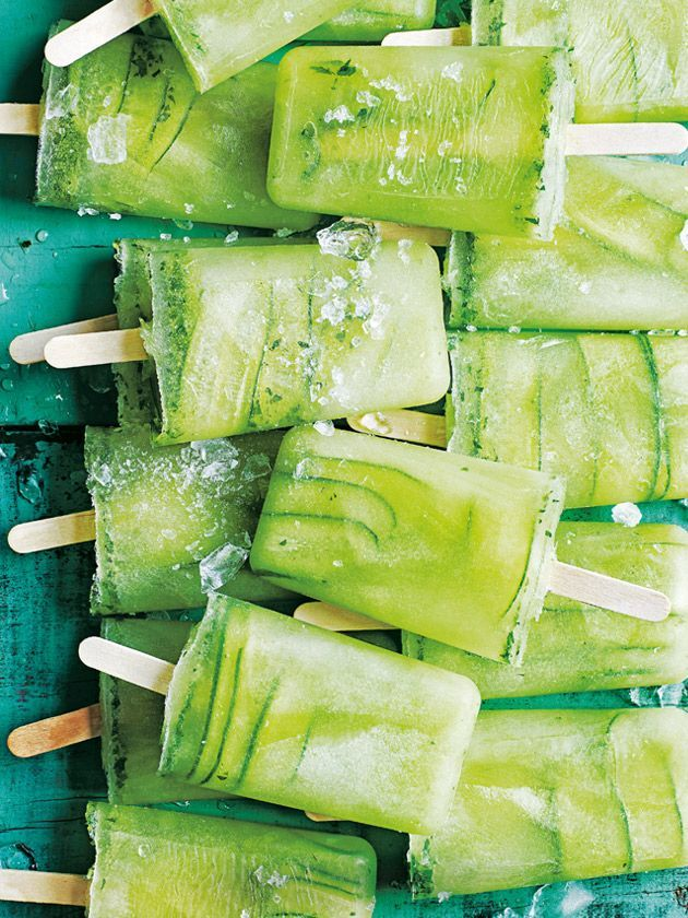 cucumber, lime and mint popsicles