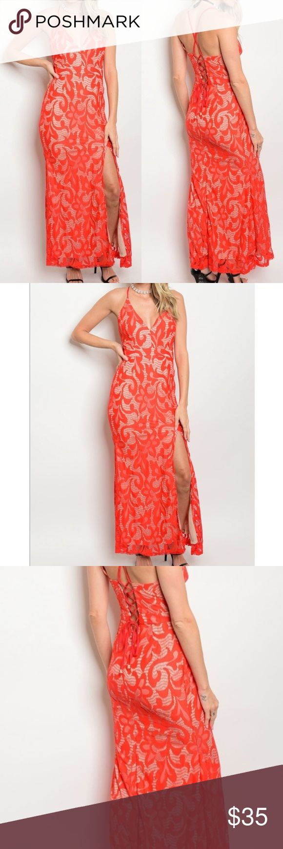 Nude and Coral Lace Plunging Neckline Long Dress Wow! This nude and coral dress features a Plunging Neckline And lac detail. It is fully Lined and fits true to size with a hidden back zipper and adjustable straps. Beautiful corset lace up backing adds it's elegance along with a front side slit that goes up to mid thigh. It is 100%polyester. Satisfaction guaranteed. Any questions please ask at anytime :-) Dresses
