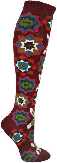 Inuit Beading Knee High Socks / Red