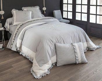 linge de lit percale brodée et volants - Becquet