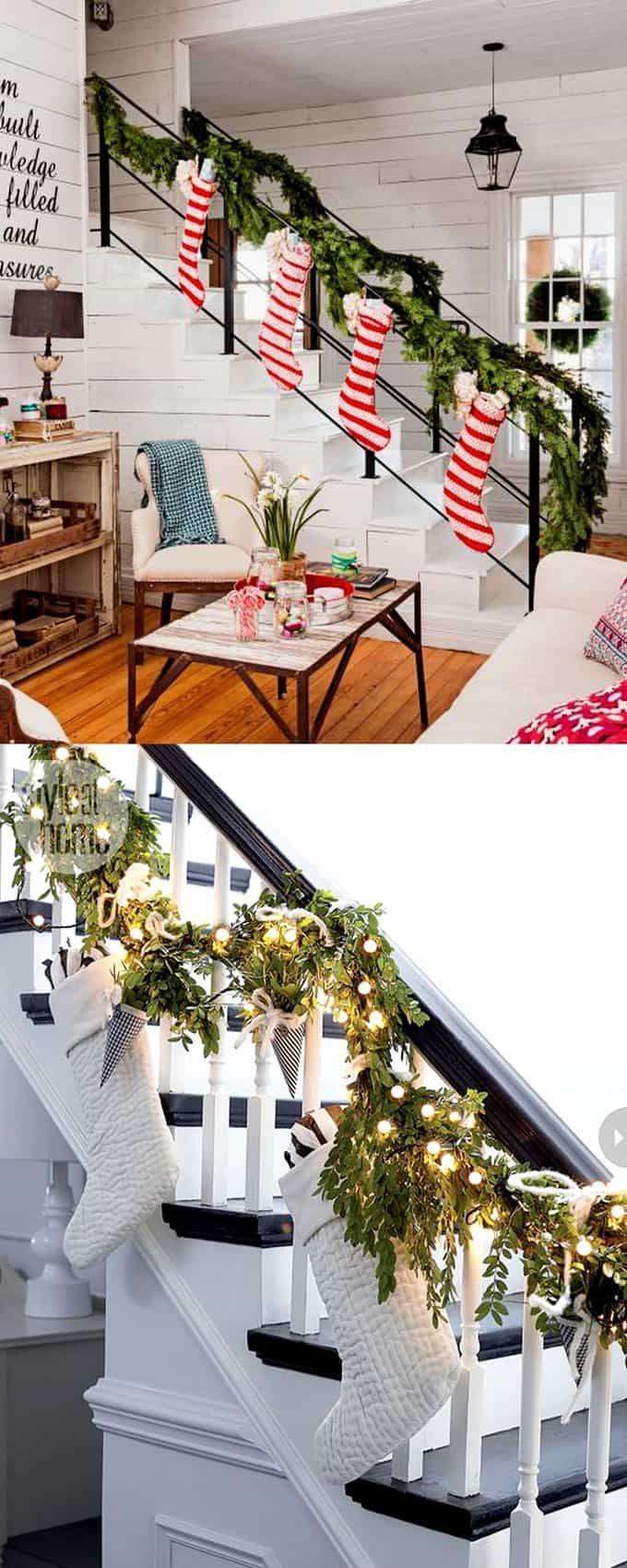 Christmas staircase: 100+ Favorite Christmas decorating ideas & DIY Christmas decorations for every room, from the best Christmas home tours! Lots of great tips to apply to your own home easily! A Piece of Rainbow