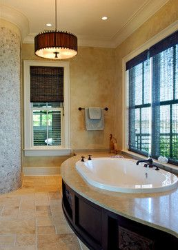 Master bathtub with large windows on view - tropical - bathroom - charleston - by Christopher A Rose AIA, ASID. Hot/cold on outside, faucet on inside!