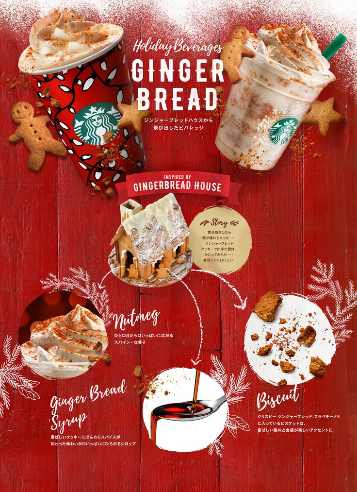 Holiday Bevarages ジンジャーブレッドハウスから飛び出したビバレッジ SNOW PECAN NUT LATTE スノー ピーカン ナッツ ラテ / SNOW PECAN NUT FRAPPUCCINO® Blended Cream スノー ピーカン ナッツ フラペチーノ® INSPIRED BY GINGERBREAD HOUSE Pecan Nuts Whipped Cream / Pecan Nuts Chocolate & Milk Caramel Powder / Pecan Nuts Sauce