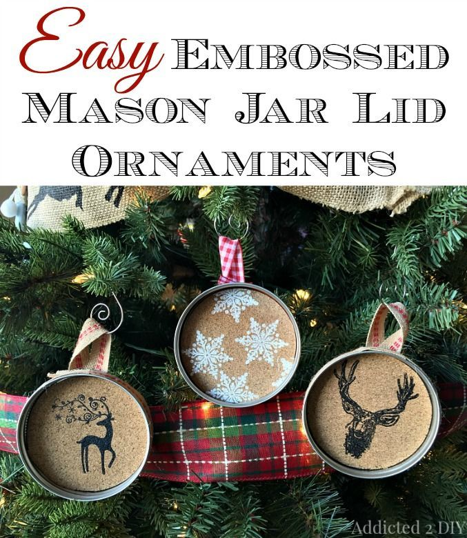 Make these simple and rustic ornaments with cork sheets and embossing powder.  They're so pretty and take just minutes to make!