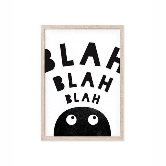 Blah blah blah kinderen muur decor afdrukbare door PapermintStudio
