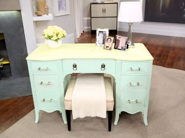 """""""Mr. Goodwill Hunting"""" took an old garage sale desk and painted it and put on cute knobs -- wonderful!  Check out his facebook page for great thrift store ideas!: Old Desks, Repaint Desks, Furniture Makeover, Desks Redo, Furniturebuildpaint Diy, Bathroom Vanities, Garage Sales, Goodwill Hunt'S, Stores Ideas"""
