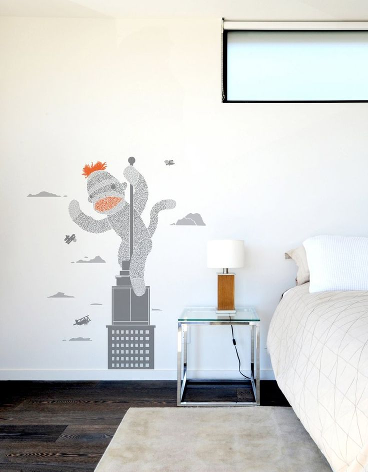 This wall decal is based on the Threadless t-shirt design Sock Monkey Just Wants a Friend by Ronan Lynam.