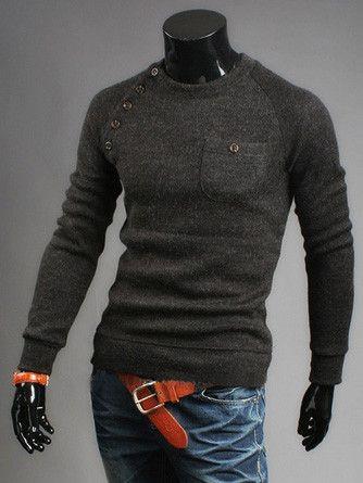 Shoulder Button Sweater   Deal Man