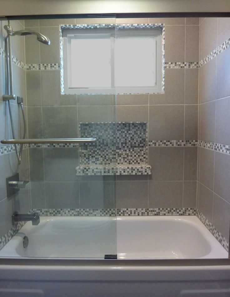 Tub Shower Tile Surround with glass mosaic niche  Nestology Interiors by Sebra in 2019  Shower tub Tub shower combo Bathroom