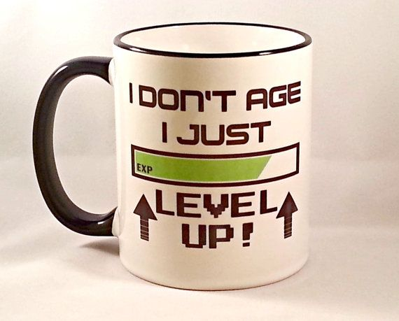Funny Coffee Mug, Video Game Mug, Geeky Coffee Cup, Level Up Gamer Mug, Geek Birthday Gift, Sublimated 11 oz, Colored Handle & Rim, 4 Colors