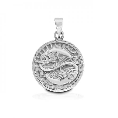 Sterling Silver Zodiac Pisces Large Disc Pendant