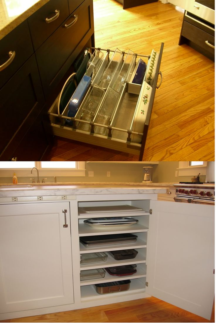 Clutter solutions for casserole dishes and baking pans. No more digging through the cabinets to find that pan you need (which always seems to end up at the bottom of the pile!)