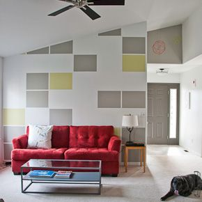 Painted block accent wall - might be cool in living room