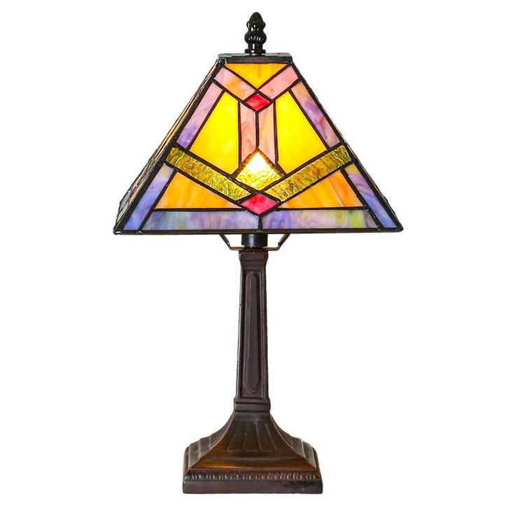 River of Goods 15.25 in. Multi-Colored Desk Lamp with Tiffany Style Stained Glass Southwestern Sunrise Shade