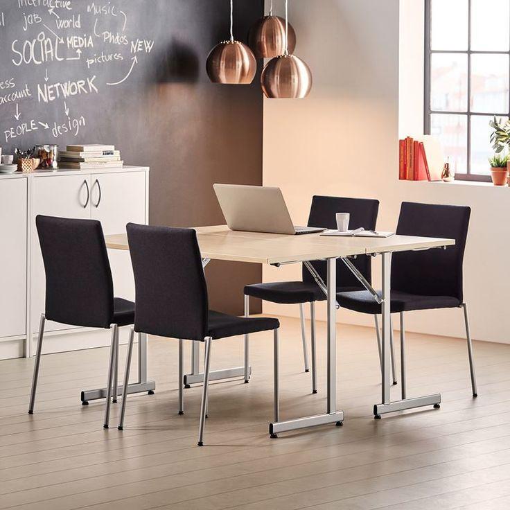 Konferansebord Claire, sammenleggbart, 1200x600 mm, bjørk, alugrå