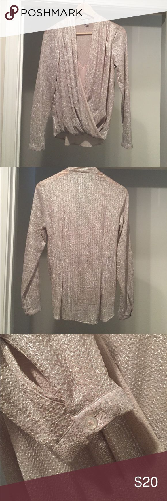 """H&M Gold and Silver Long Sleeve Blouse with cami Worn once. 26"""" in length from center back. May have been a button to connect the folds in front but it wasn't there when I wore it 😞 could easily attach one if you wanted to hide the cami. Tops"""