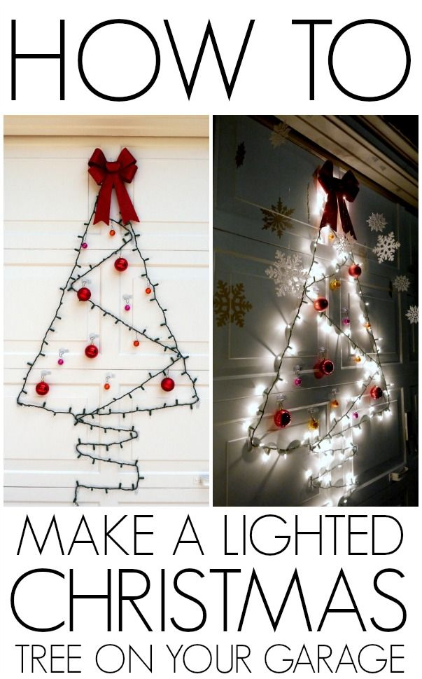 Make a one strand light up Christmas tree on your door, garage or window for Christmas!