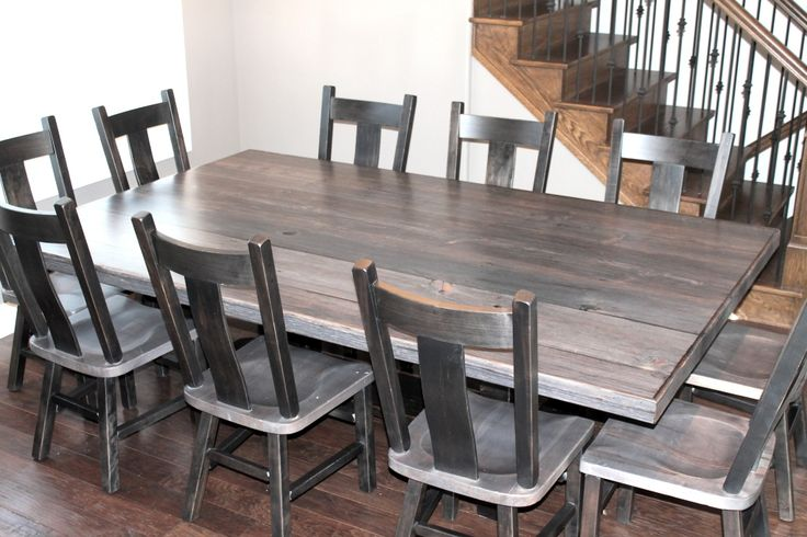 Weathered gray barn board table color of table bench on for Different kitchen tables