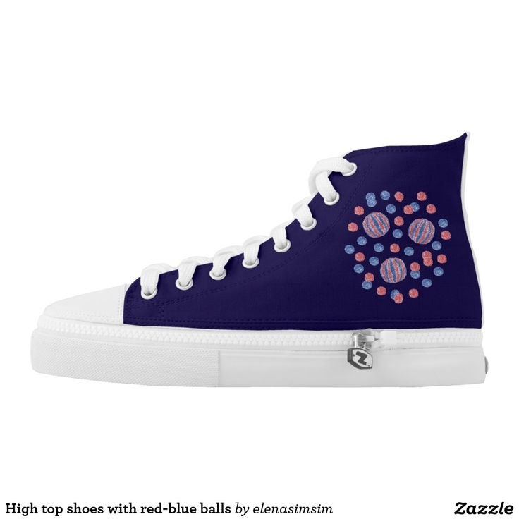 High top shoes with red-blue balls