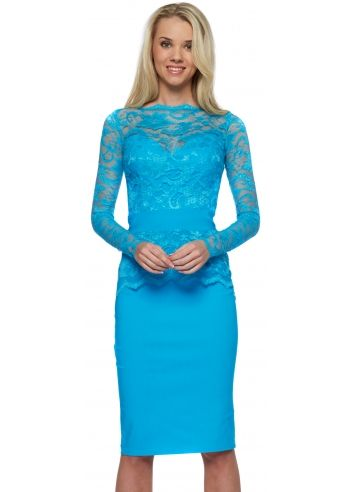 Tempest blue lace overlay billie pencil dress