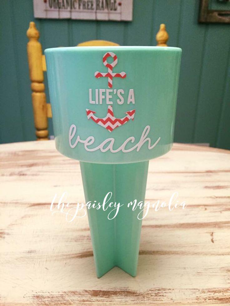 Life's A Beach Beach Spiker, Anchor, Mint, Spiker, Chevron, Silhouette Cameo, Vinyl Craft, Bridesmaids, Wedding, Gift, Silhouette Cameo Projects https://www.etsy.com/listing/384368772/lifes-a-beach-beach-spiker?ref=shop_home_active_27