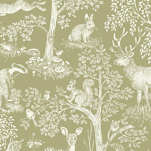 1YD SHERWOOD FOREST SCENIC Modern TOILE Deer Owl  Part 20