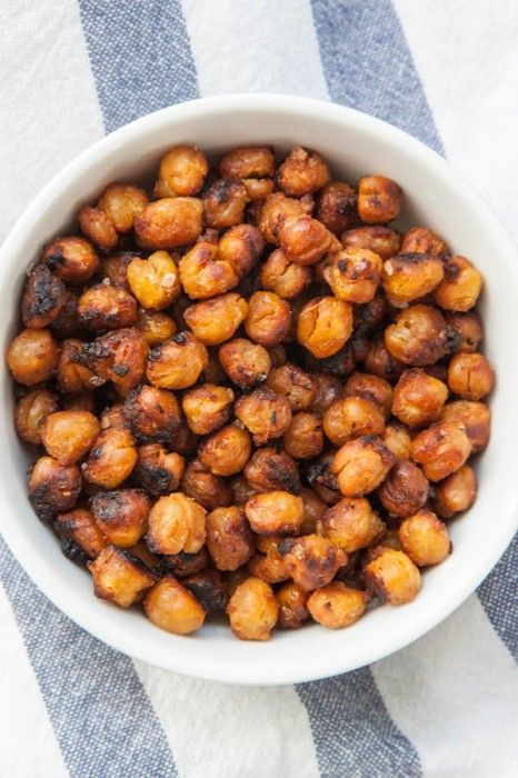 Miso Roasted Chickpeas are a wildly addictive, totally delicious, healthy snack! | TheCornerKitchenBlog.com #snack #healthy #recipe